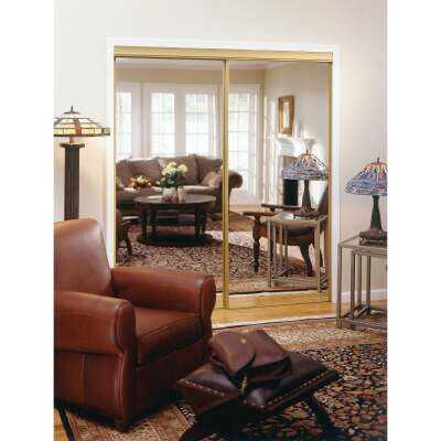 Erias 4050 Series 71 In. W. x 80-1/2 In. H. Mayan Gold Top Hung Mirrored Bypass Door