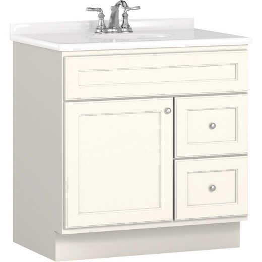 Bertch Northbrook 30 In. W x 34-1/2 In. H x 21 In. D White Vanity Base, 2 Door/2 Drawer